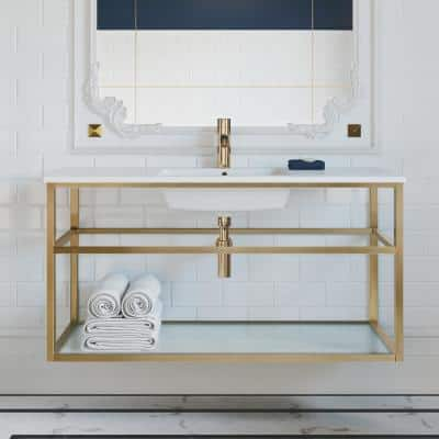 Pierre 47.2 in. W x 23.6 in. H Bath Vanity in Gold with Ceramic Vanity Top in White with White Basin