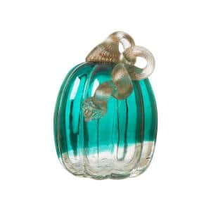 5.51 in. H Turquoise Crackle Glass Pumpkin