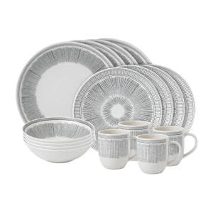 Charcoal Grey Lines 16-Piece Grey Porcelain Dinnerware Set (Service for 4)