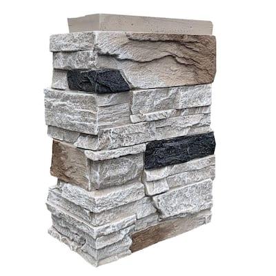 Country Ledgestone 3.5 in. x 15.5 in. Faux Stone Outside Corner in Dover White (4-Pack)