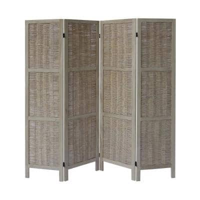 5.5 ft. Antique White 4-Panel Foldable Wooden Room Divider Privacy Screen with Willow Weaved Design