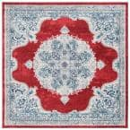 Brentwood Red/Ivory 5 ft. x 5 ft. Square Border Area Rug