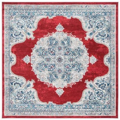 Brentwood Red/Ivory 7 ft. x 7 ft. Square Area Rug