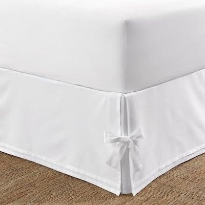 Corner Ties Cotton White Cotton King 15 in. Drop Bedskirt