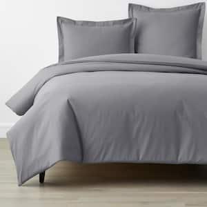 Company Organic Cotton Dark Gray Full Cotton Percale Duvet Cover