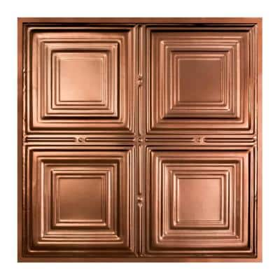 Syracuse 2 ft. x 2 ft. Lay-in Tin Ceiling Tile in Vintage Bronze (20 sq. ft. / case of 5)