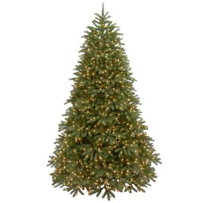 7-1/2 ft. Feel Real Jersey Fraser Medium Fir Hinged Artificial Christmas Tree with 1000 Clear Lights