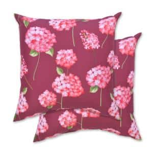 Pink Blooms Square Outdoor Throw Pillow (2-Pack)