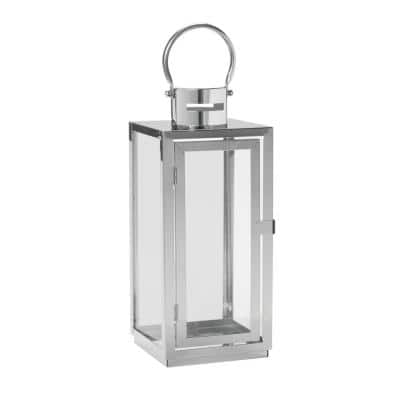 15 in. Daphne Stainless Steel Metal and Glass Candle Hanging or Tabletop Lantern