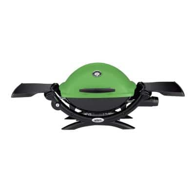 Q 1200 1-Burner Portable Tabletop Propane Gas Grill in Green with Built-In Thermometer