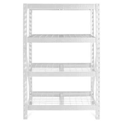 White 4-Tier Heavy Duty Steel Garage Storage Shelving Unit (48 in. W x 72 in. H x 18 in. D)