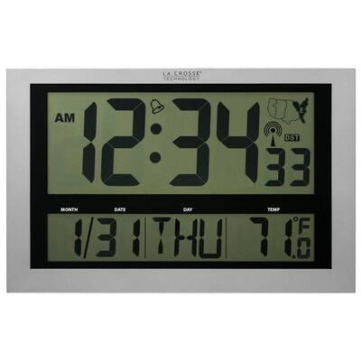 Jumbo Digital Atomic Wall Clock with Indoor Temperature