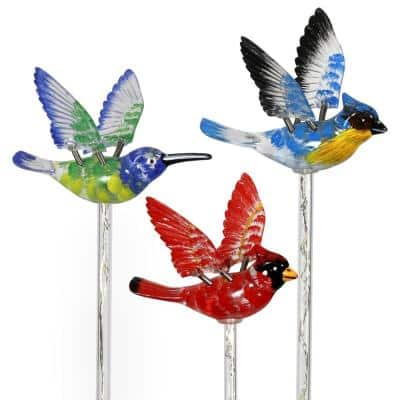 Solar WindyWing Cardinal, Hummingbird and Blue Bird with LED Lights 2.28 ft. Multicolor Plastic Garden Stakes (3-Pack)
