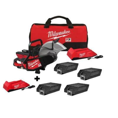 MX FUEL 14 in. Lithium-Ion Cordless Cut Off Saw Kit with 2 Chargers and 4 Lithium-Ion REDLITHIUM XC406 Batteries