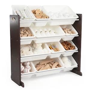 Espresso Collection Espresso and White Kids Toy Storage Organizer with 12 Plastic Bins