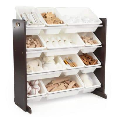 Espresso Collection Espresso and White Kids Toy Storage Organizer with 12 Plastic Bins