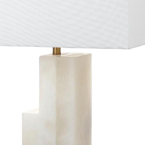 Safavieh Cora Alabaster 27 75 In White, Square Marble Base Table Lamp