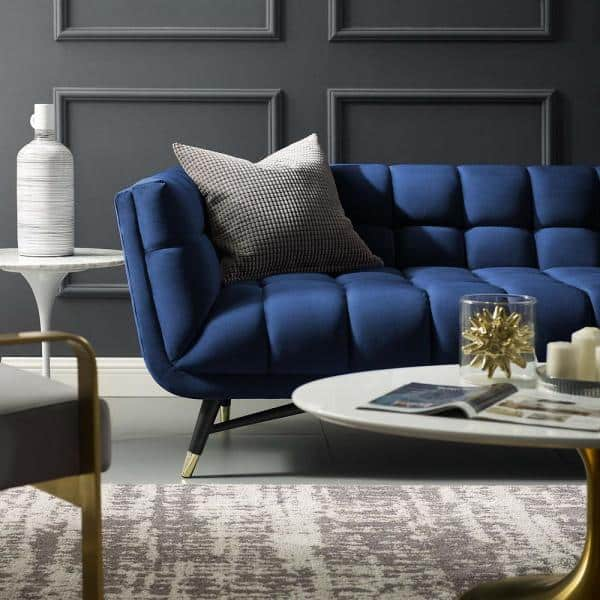 Modway Adept 90 In Midnight Blue Velvet 4 Seater Tuxedo Sofa With Square Arms Eei 3059 Mid The Home Depot