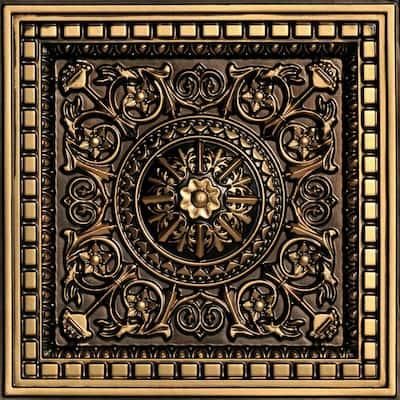 Da Vinci Antique Gold 2 ft. x 2 ft. PVC Lay-in Coffered Ceiling Tile (100 sq. ft./case)
