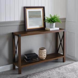 46 in. Dark Walnut Standard Rectangle Composite Console Table with Storage