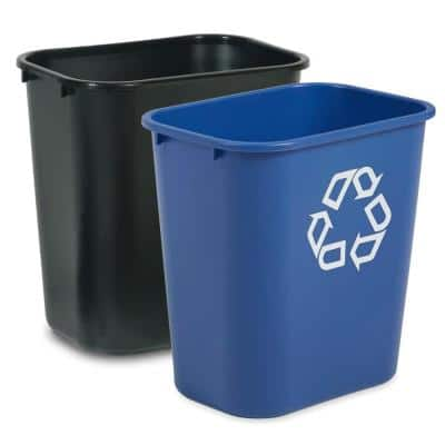 28 Qt. Medium Trash Can Black and Recycle Combo Pack