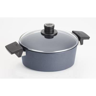 Diamond LITE Induction 4.25 qt. Round Cast Aluminum Nonstick Casserole Dish in Gray with Glass Lid