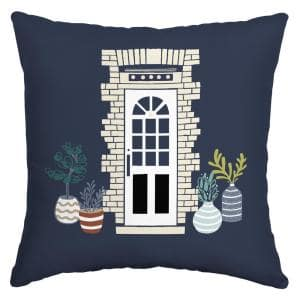 Midnight Potted Plants Square Outdoor Throw Pillow (2-Pack)