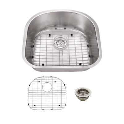 20.88 in. W x 23.25 in. D x 9 in. H D-Shaped Stainless Steel Undermount Utility Sink