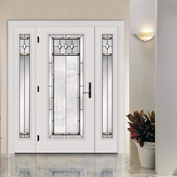 Jeld Wen 66 In X 80 In Full Lite Mission Prairie Primed Steel Prehung Right Hand Inswing Front Door With Sidelites H31391 The Home Depot