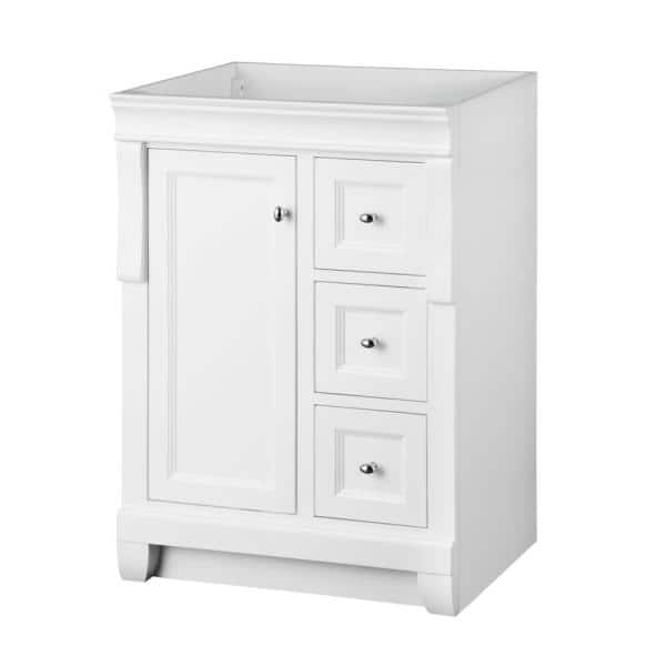 Home Decorators Collection Naples 24 In W Bath Vanity Cabinet Only In White With Right Hand Drawers Nawa2418d The Home Depot