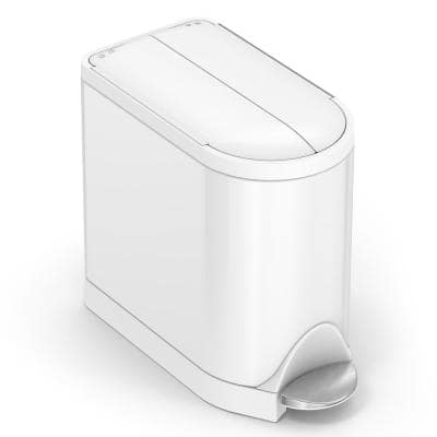 10-Liter White Stainless Steel Butterfly Step-On Trash Can