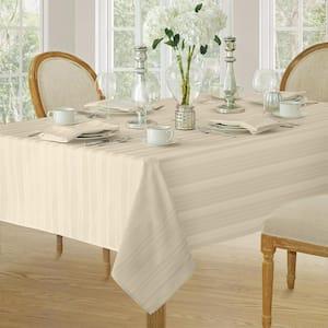 52 in. W x 52 in. L Ivory Denley Stripe Damask Fabric Tablecloth
