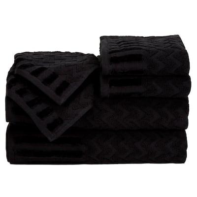 6-Piece Black Chevron Patterned Deluxe Plush Cotton Bath Towel Set