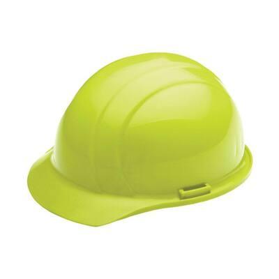 4 Point Nylon Suspension Mega Ratchet Cap Hard Hat in Hi Viz Lime