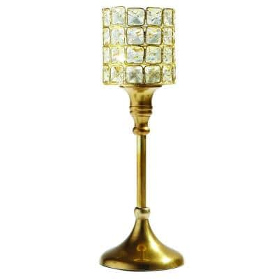 Gold Square Crystal Candle Holder T-Lite On Stand
