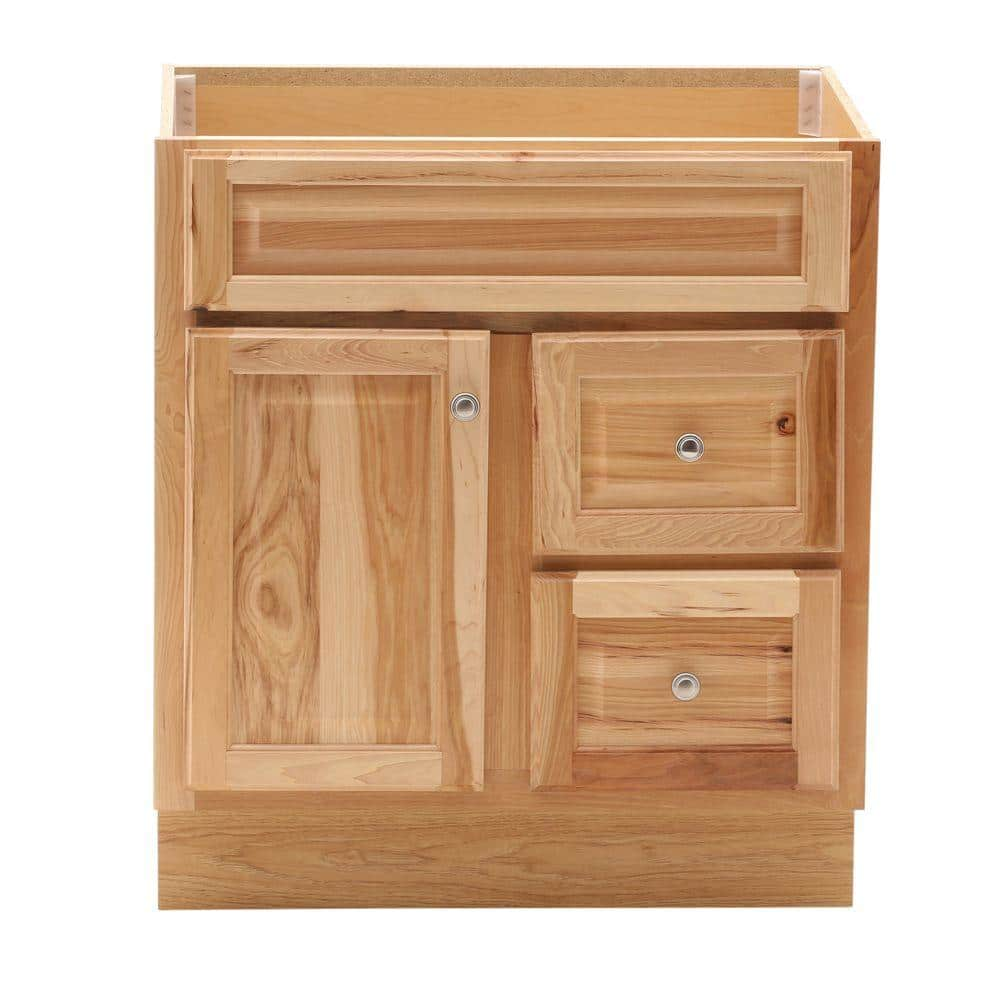 Glacier Bay Hampton 30 In W X 21 In D X 33 5 In H Bathroom Vanity Cabinet Only In Natural Hickory Hnhk30dy The Home Depot