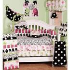 Hottsie Dottsie 8-Piece Pink, Black and White Elephant and Dots Crib Bedding Set