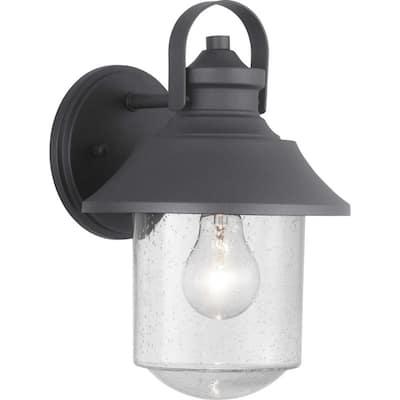 Weldon Collection 1-Light Textured Black Clear Seeded Glass Farmhouse Outdoor Medium Wall Lantern Light