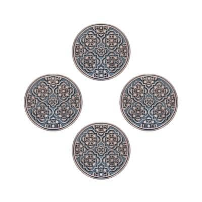 A1HC Set of 4 Garden Stepping Stone, Bronze 12 in. x 12 in. Rubber, Outdoor Decorative Tray Step Mat