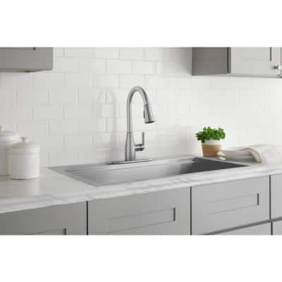 McKenna Single-Handle Pull-Down Sprayer Kitchen Faucet in Stainless Steel with TurboSpray and FastMount