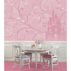 72 in. x 126 in. Disney Princess Scroll Castle Chair Rail Pre-Pasted Wall Mural