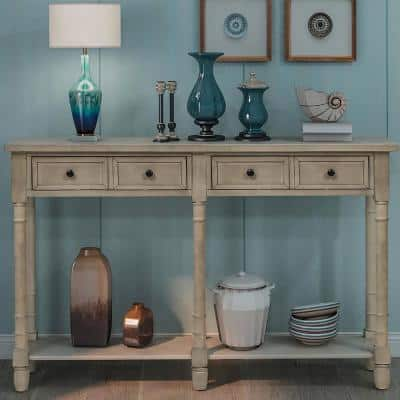 58 in. Gray Standard Rectangle Wood Console Table with Drawers
