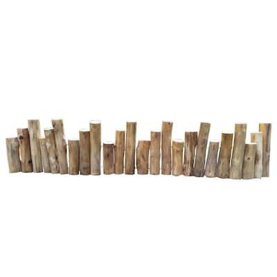 60 in. x 2 in. x 6 in., 8 in., 10 in. Natural Color Uneven Solid Teak Wood Log Edging