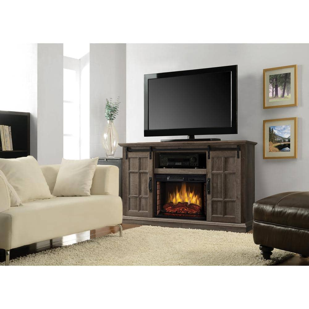 Reviews For Muskoka Colton 55 In W Freestanding Infrared Electric Fireplace Tv Stand With Sliding Door In Aged Oak 240 158 354 The Home Depot