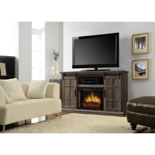 Muskoka Colton 55 In W Freestanding Infrared Electric Fireplace Tv Stand With Sliding Door In Aged Oak 240 158 354 The Home Depot