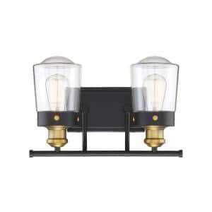 Vintage Black With Warm Brass Vanity Light with Clear Glass Shades