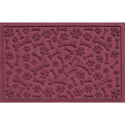 Bordeaux 24 in. x 36 in. Paws and Bones Polypropylene Pet Mat