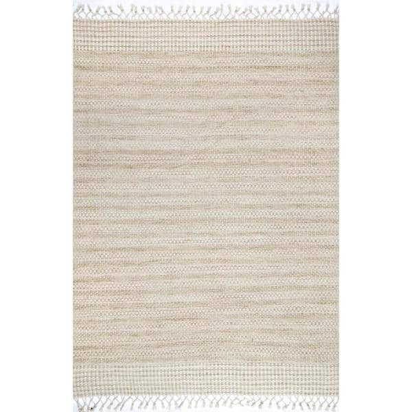 Nuloom Marisol Wool Striped Beige 8 Ft X 10 Ft Area Rug Dgla01a 76096 The Home Depot