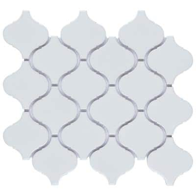 Metro Lantern Glossy White 9-1/2 in. x 10-3/4 in Porcelain Mosaic Tile (7.26 sq. ft./Case)