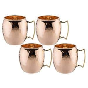 16 oz. Solid Copper Hammered Moscow Mule Mug with Unlined Non-Lacquered (Set of 4)
